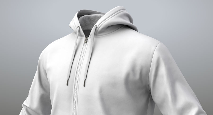 Hoodie 02 (White) +PBR royalty-free 3d model - Preview no. 3