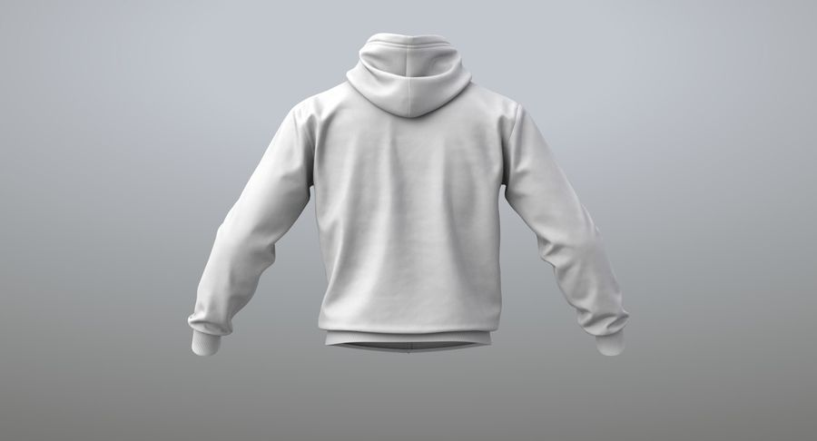Hoodie 02 (White) +PBR royalty-free 3d model - Preview no. 9
