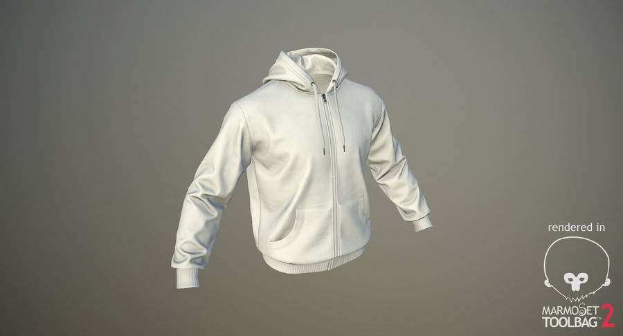 Hoodie 02 (White) +PBR royalty-free 3d model - Preview no. 17