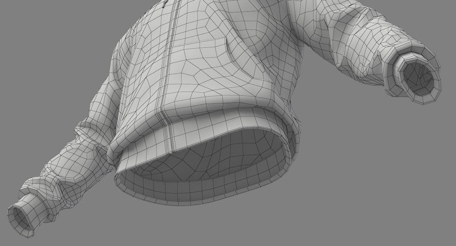 Hoodie 02 (White) +PBR royalty-free 3d model - Preview no. 24