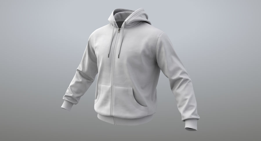 Hoodie 02 (White) +PBR royalty-free 3d model - Preview no. 2