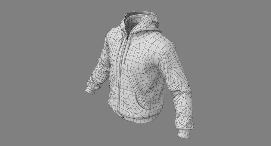 Hoodie 02 (White) +PBR royalty-free 3d model - Preview no. 26