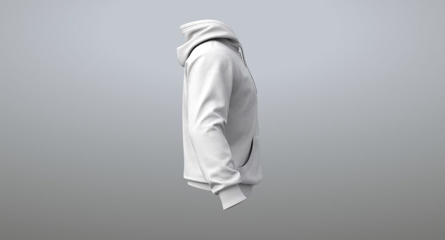 Hoodie 02 (White) +PBR royalty-free 3d model - Preview no. 10