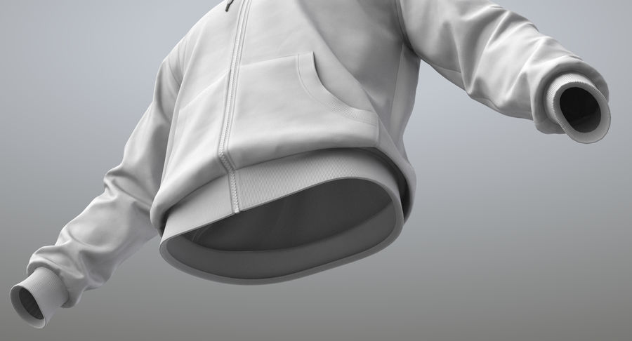 Hoodie 02 (White) +PBR royalty-free 3d model - Preview no. 5