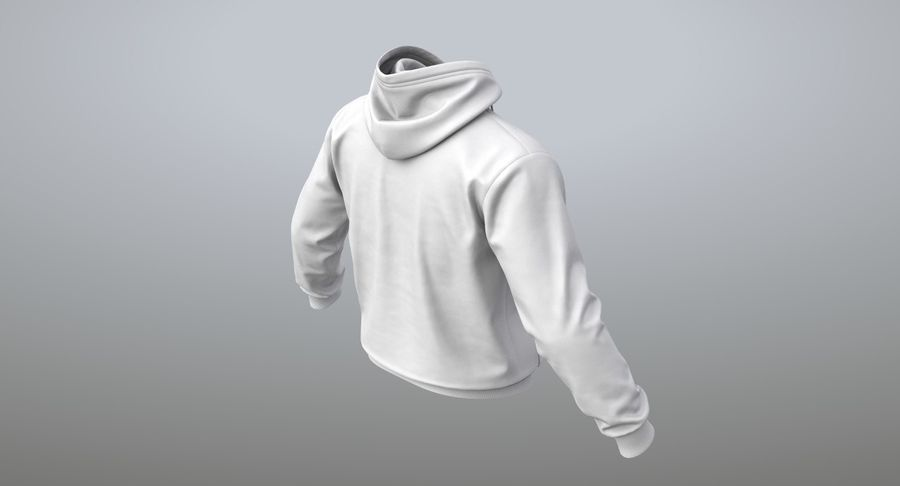 Hoodie 02 (White) +PBR royalty-free 3d model - Preview no. 12