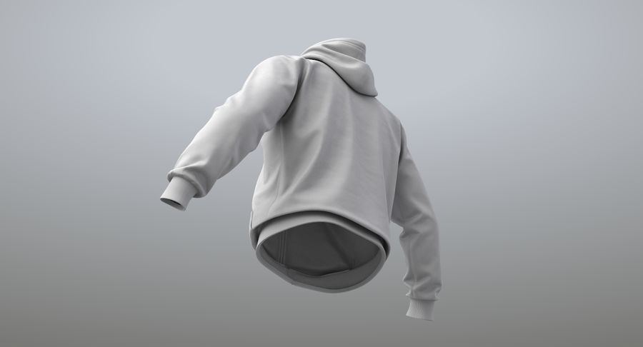 Hoodie 02 (White) +PBR royalty-free 3d model - Preview no. 15