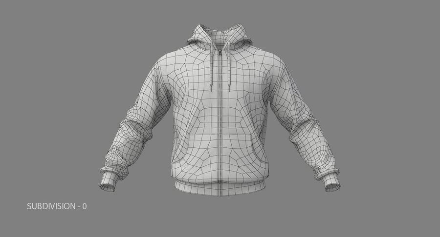 Hoodie 02 (White) +PBR royalty-free 3d model - Preview no. 20