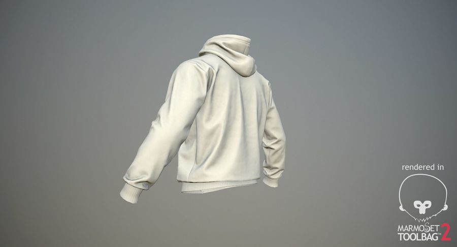 Hoodie 02 (White) +PBR royalty-free 3d model - Preview no. 19