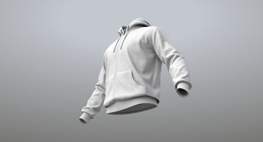 Hoodie 02 (White) +PBR royalty-free 3d model - Preview no. 14