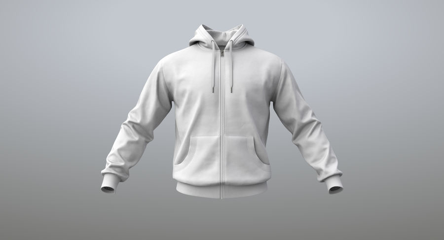 Hoodie 02 (White) +PBR royalty-free 3d model - Preview no. 7