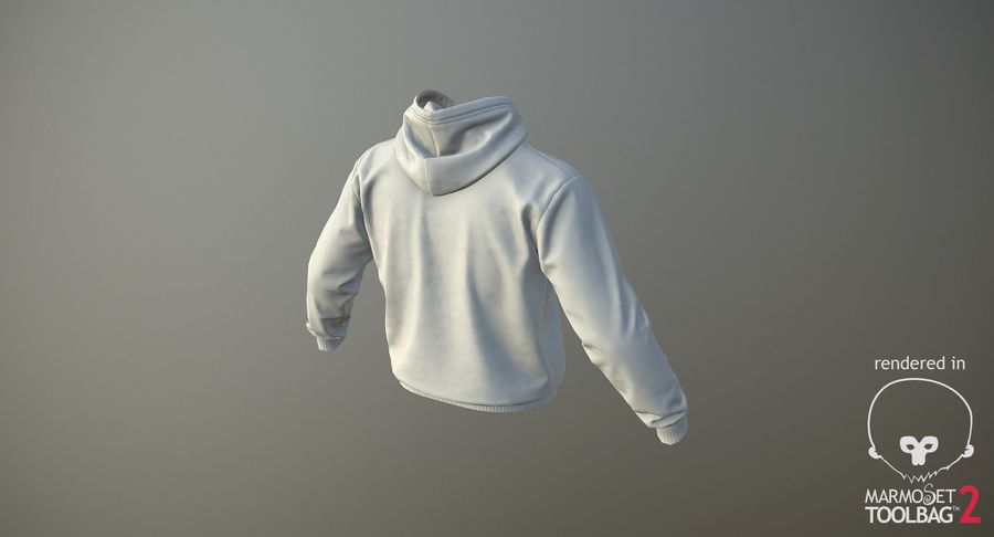Hoodie 02 (White) +PBR royalty-free 3d model - Preview no. 18