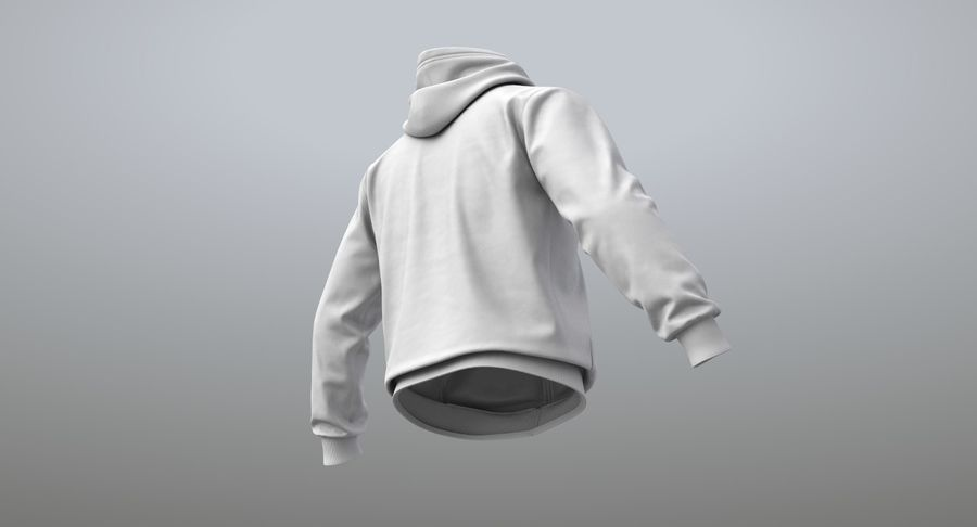 Hoodie 02 (White) +PBR royalty-free 3d model - Preview no. 13
