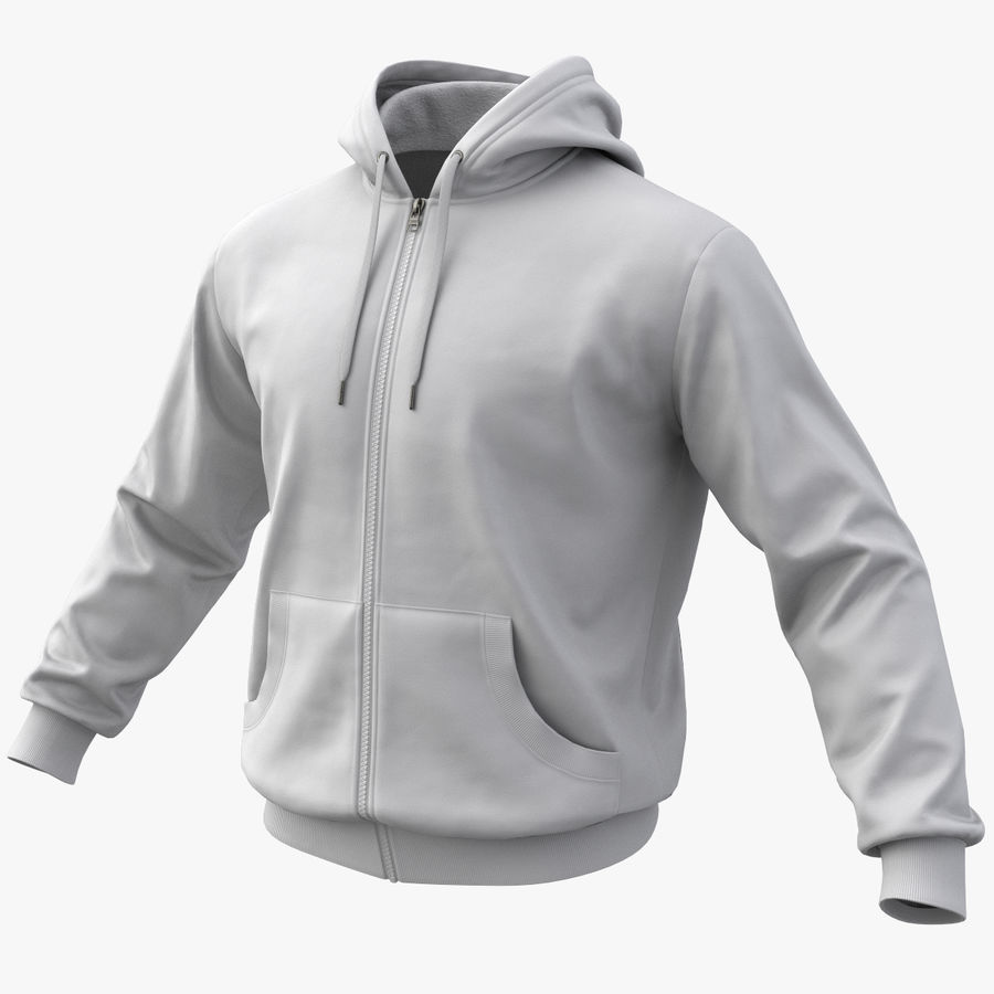 Hoodie 02 (White) +PBR royalty-free 3d model - Preview no. 1