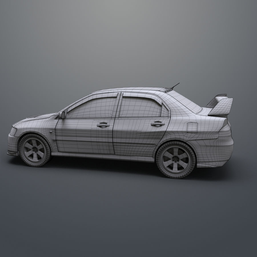 Mitsubishi lancer evolution IX royalty-free 3d model - Preview no. 17