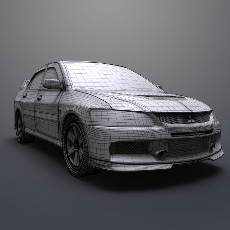Mitsubishi lancer evolution IX royalty-free 3d model - Preview no. 20