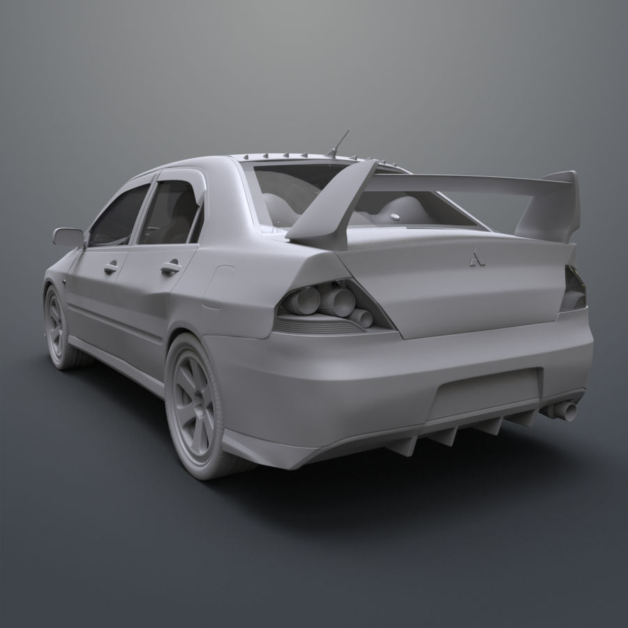 Mitsubishi lancer evolution IX royalty-free 3d model - Preview no. 11