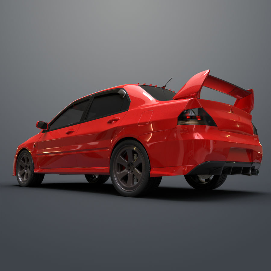Mitsubishi lancer evolution IX royalty-free 3d model - Preview no. 9