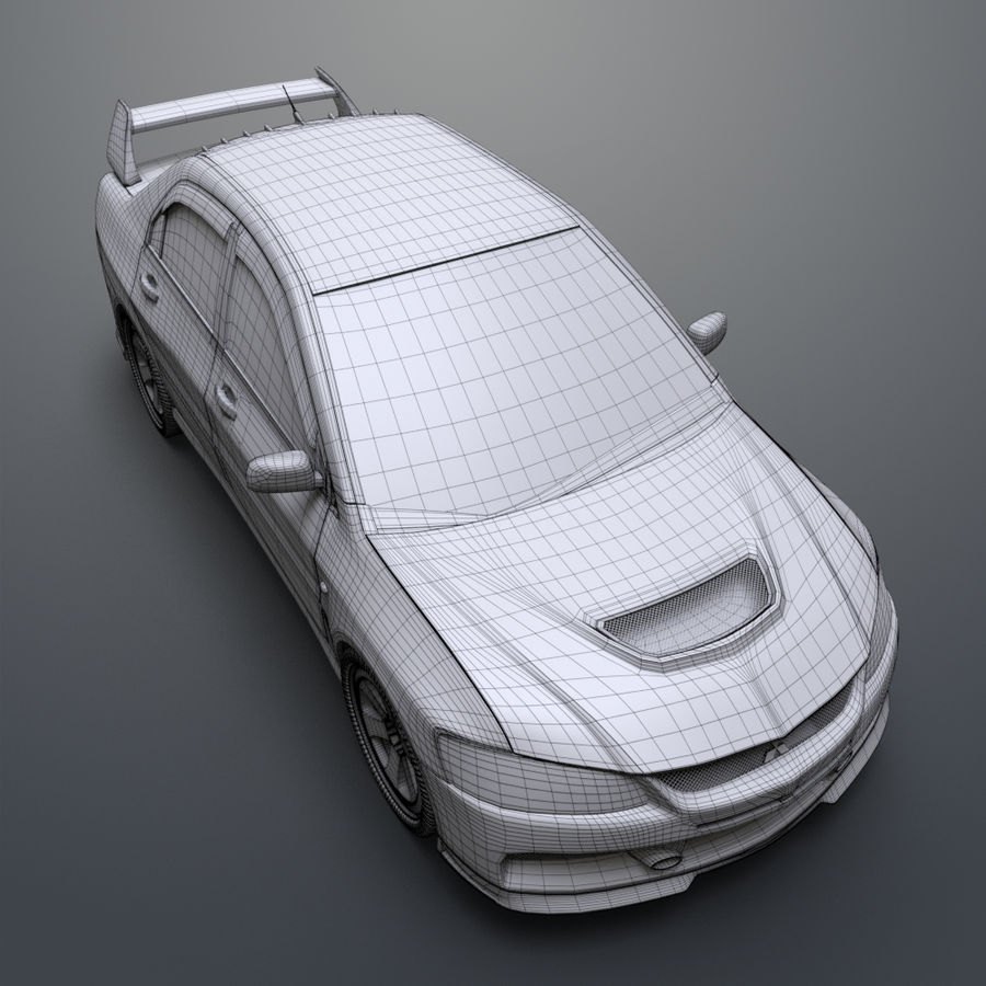 Mitsubishi lancer evolution IX royalty-free 3d model - Preview no. 21
