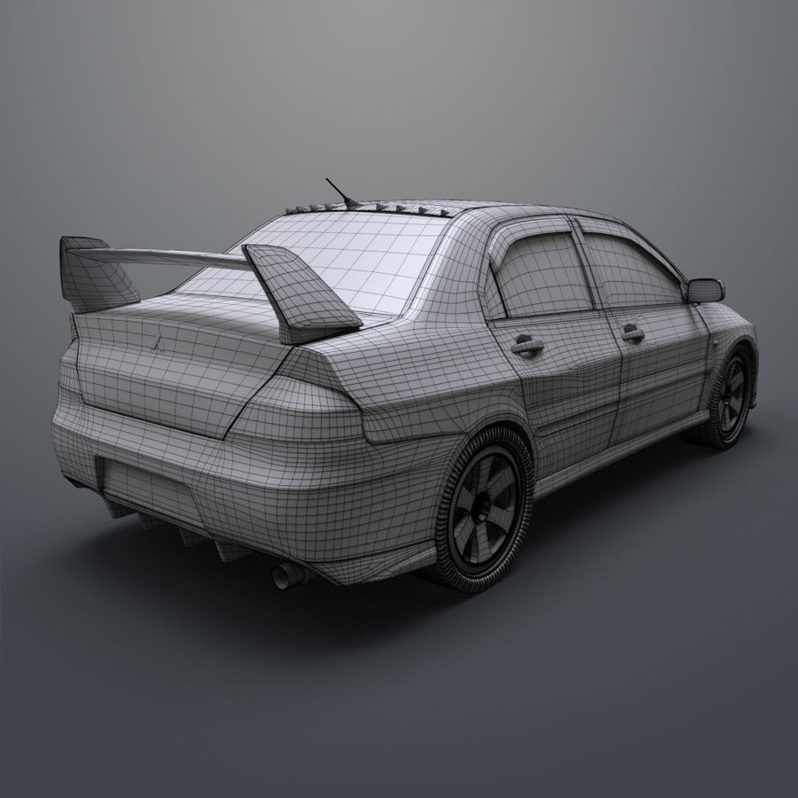 Mitsubishi lancer evolution IX royalty-free 3d model - Preview no. 19