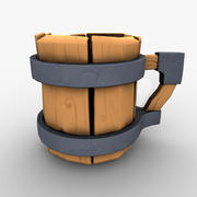 Cup cartoon wood low poly 3d model