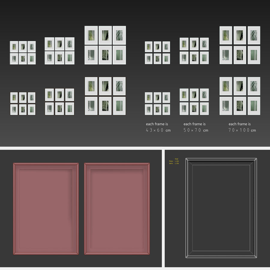 Picture Frames Set -13 royalty-free 3d model - Preview no. 6