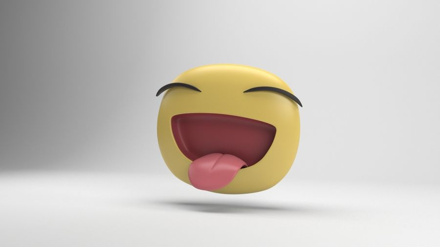 Facebook Sticker Laughing royalty-free 3d model - Preview no. 4