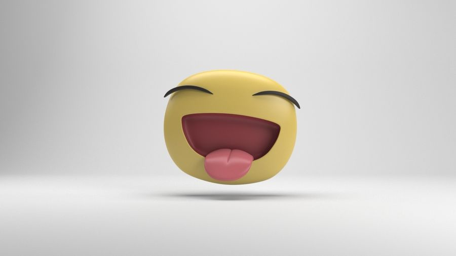 Facebook Sticker Laughing royalty-free 3d model - Preview no. 2