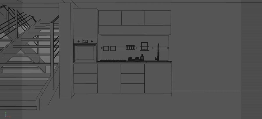 Modern kitchen design royalty-free 3d model - Preview no. 3