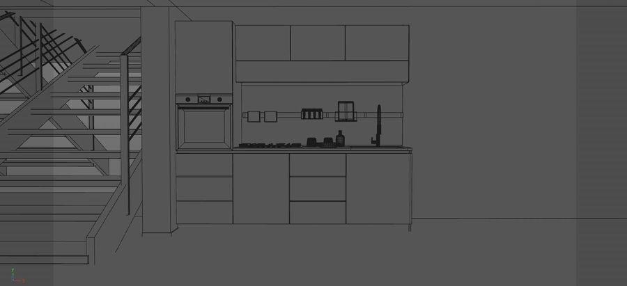 Modern kitchen design royalty-free 3d model - Preview no. 3