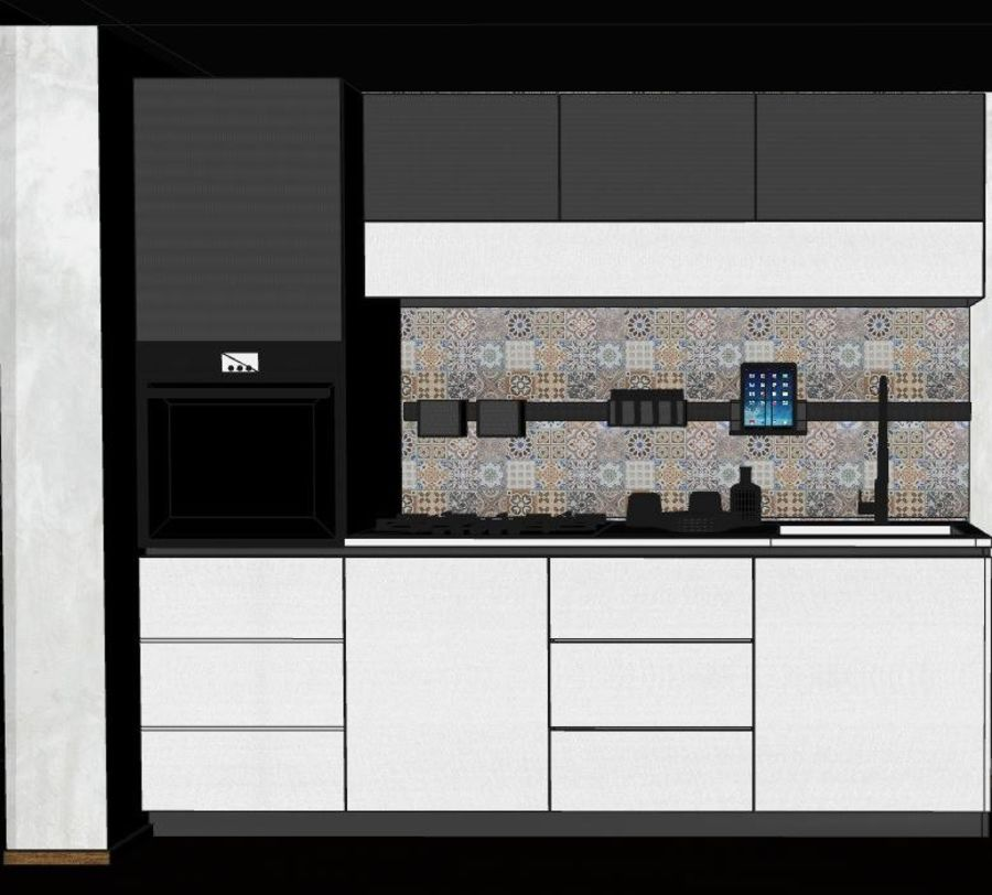 Modern kitchen design royalty-free 3d model - Preview no. 4