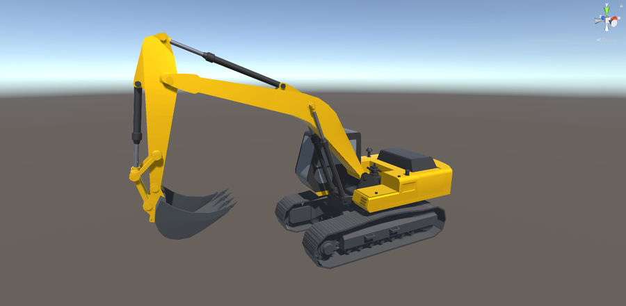 Low Poly Rigged Crawler Excavator royalty-free 3d model - Preview no. 1