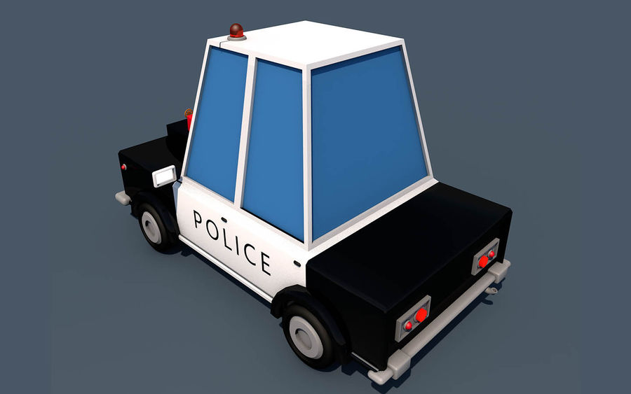 Politieauto laag poly royalty-free 3d model - Preview no. 3