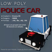 Politieauto laag poly 3d model