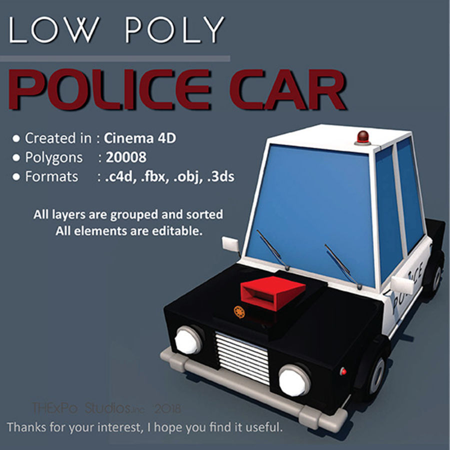 Politieauto laag poly royalty-free 3d model - Preview no. 1