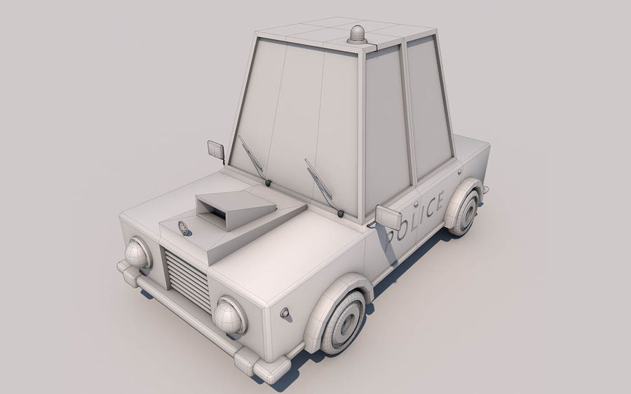 Politieauto laag poly royalty-free 3d model - Preview no. 4