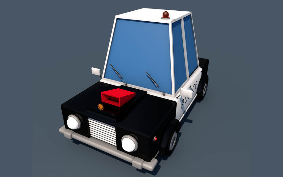 Politieauto laag poly royalty-free 3d model - Preview no. 2