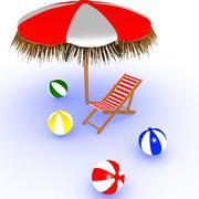 Strandstol och paraply 3d model