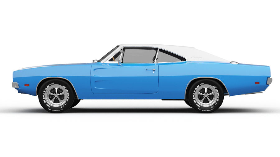 Dodge Charger 1969 royalty-free 3d model - Preview no. 6