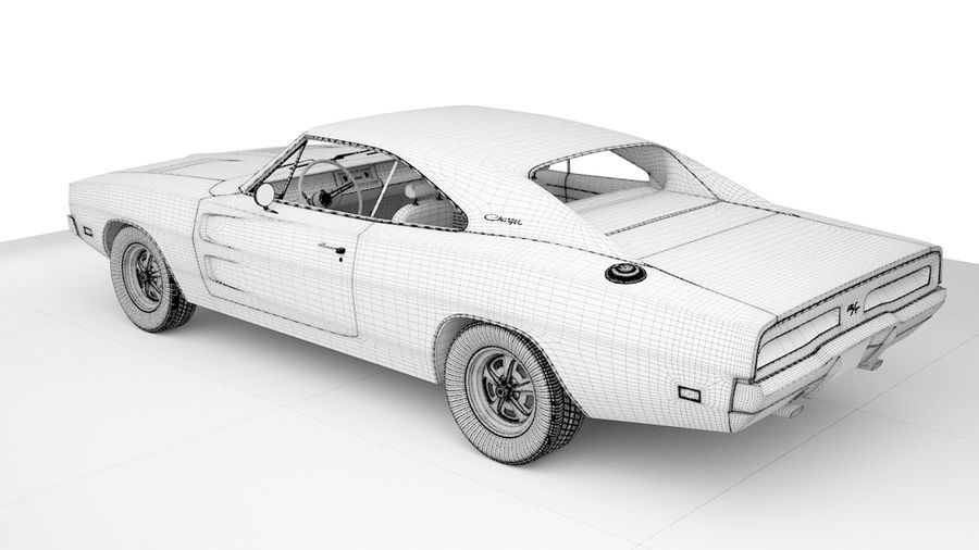 Dodge Charger 1969 royalty-free 3d model - Preview no. 10