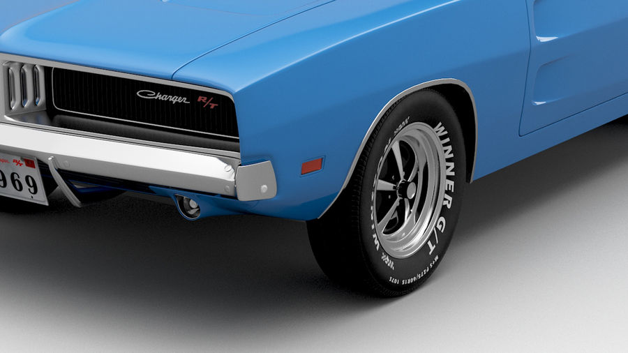 Dodge Charger 1969 royalty-free 3d model - Preview no. 3