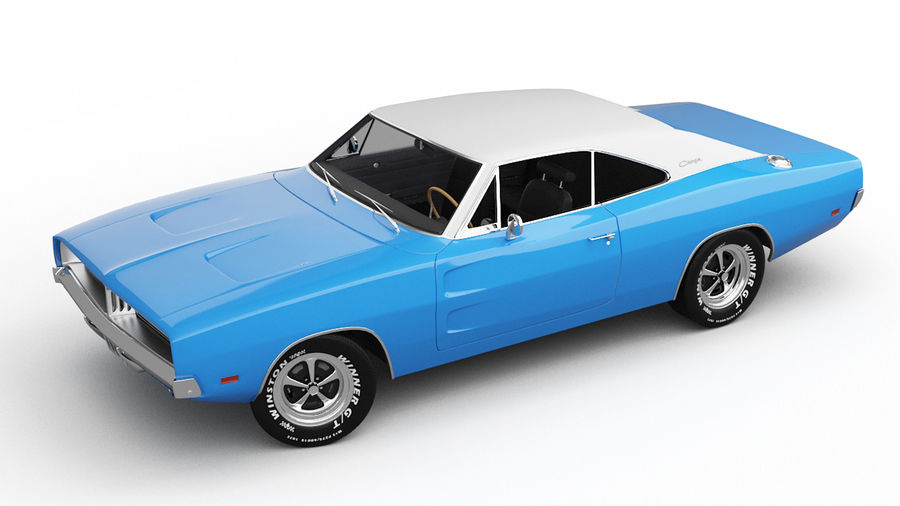 Dodge Charger 1969 royalty-free 3d model - Preview no. 8