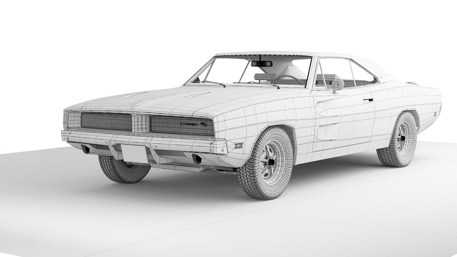 Dodge Charger 1969 royalty-free 3d model - Preview no. 9