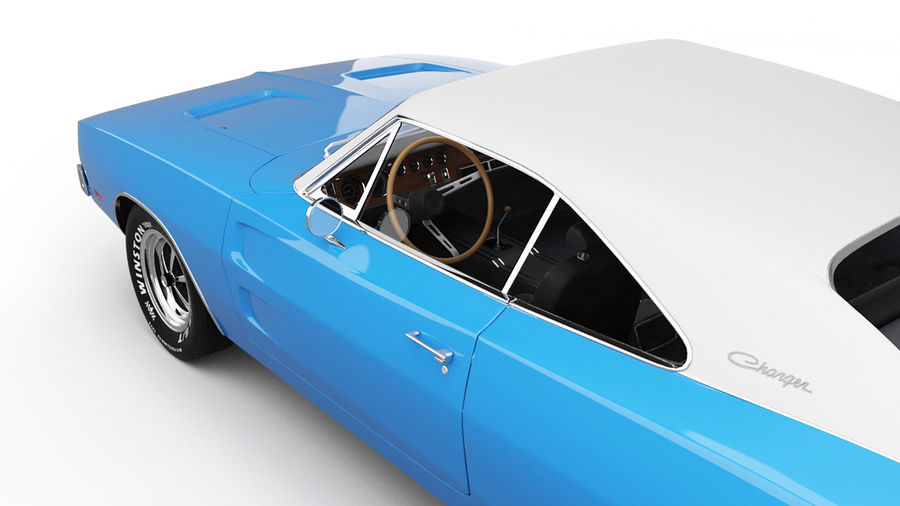 Dodge Charger 1969 royalty-free 3d model - Preview no. 7