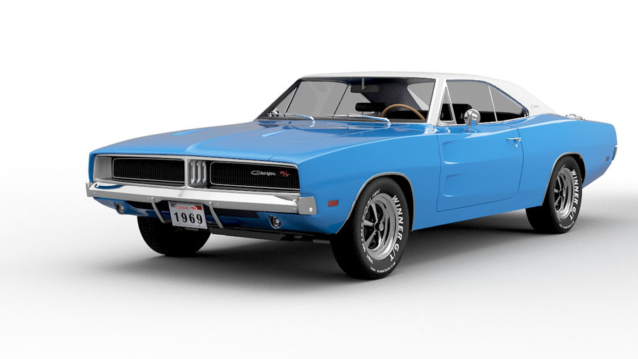Dodge Charger 1969 royalty-free 3d model - Preview no. 1
