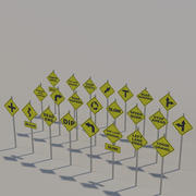 Yellow Street signs 3d model
