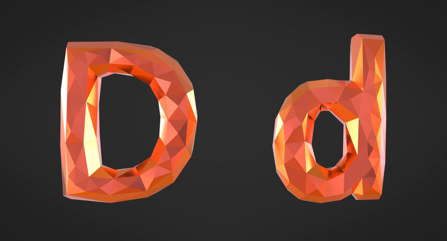 Low Poly Letters royalty-free 3d model - Preview no. 4