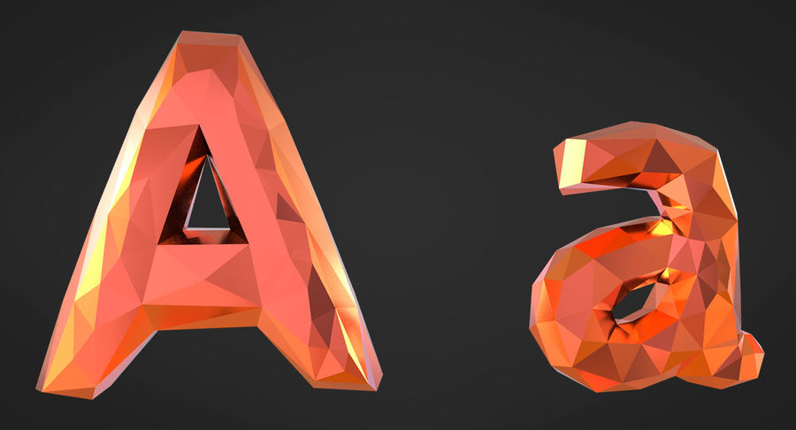 Low Poly Letters royalty-free 3d model - Preview no. 6