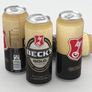 Lata de cerveza Becks Gold 500ml modelo 3d
