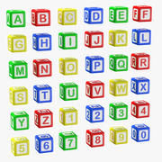 Alphabet Blocks - Letters And Numbers 3D Model 3d model