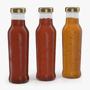 Barbecue Sauces Bottles 3d model